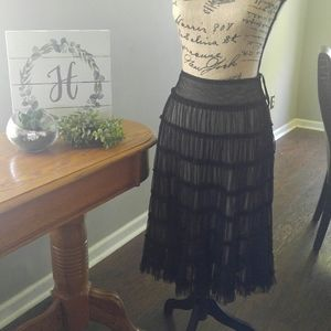 Tiered skirt with sheer overlay